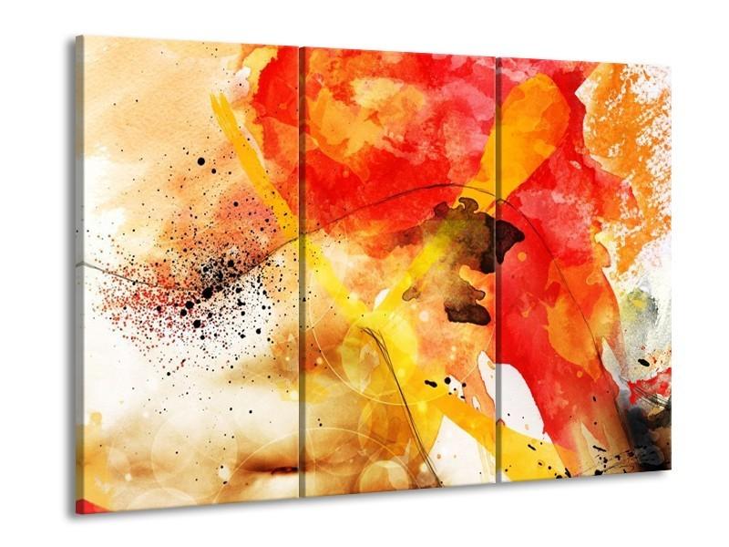 Glas schilderij Abstract | Rood, Geel, Wit | 90x60cm 3Luik