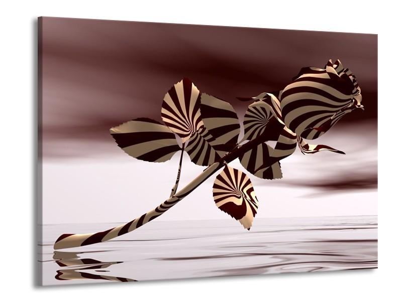 Glas schilderij Roos | Bruin, Wit, Grijs | 100x70cm 1Luik