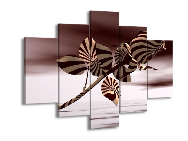 Glas schilderij Roos | Bruin, Wit, Grijs | 150x105cm 5Luik