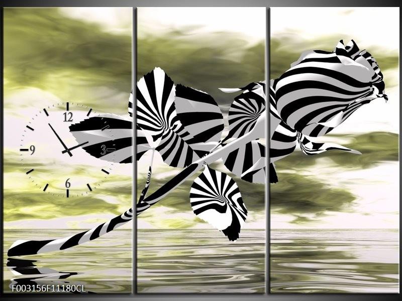 Klok schilderij Roos   Zwart, Wit, Groen   111x80cm 3Luik