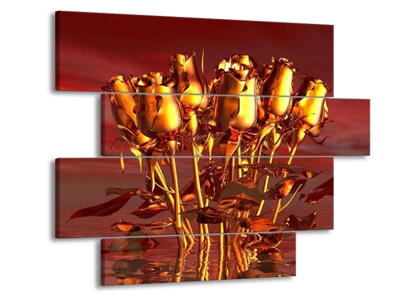 Glas schilderij Roos | Goud, Geel, Rood | 115x85cm 4Luik