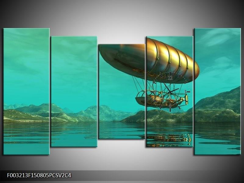Klok schilderij Abstract | Blauw, Groen, Geel | 150x80cm 5Luik