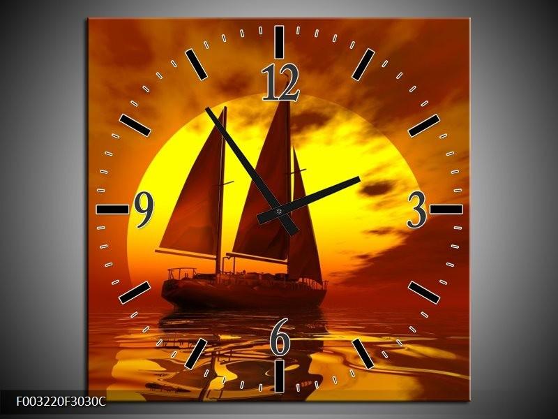 Klok schilderij Zeilboot   Geel, Rood, Bruin   30x30cm 1Luik