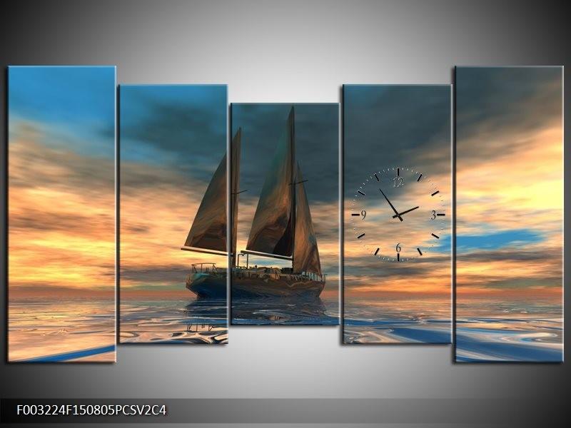 Klok schilderij Zeilboot | Blauw, Geel, Grijs | 150x80cm 5Luik