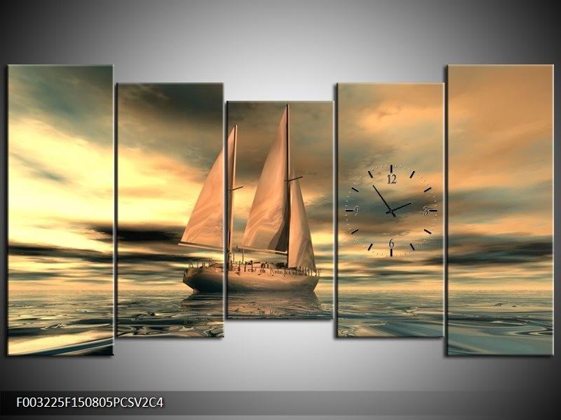 Klok schilderij Zeilboot | Geel, Wit, Grijs | 150x80cm 5Luik