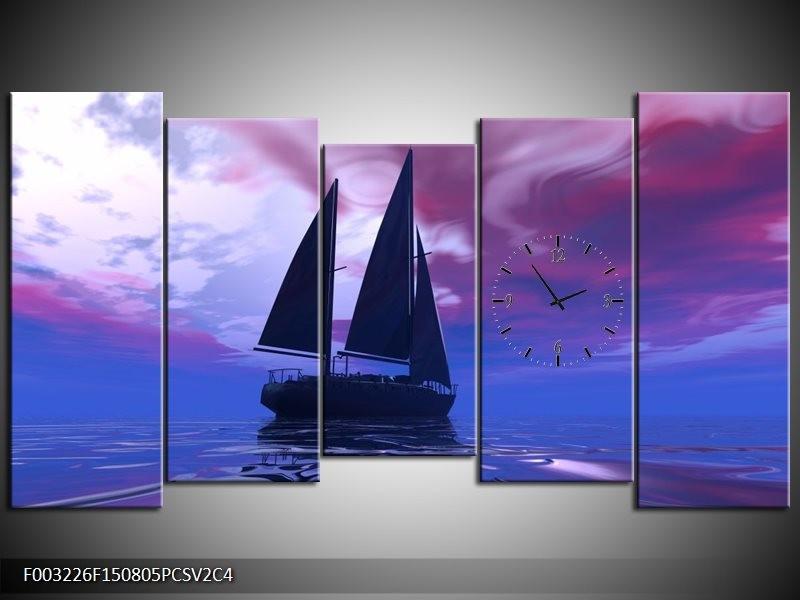 Klok schilderij Zeilboot | Blauw, Paars, Zwart | 150x80cm 5Luik