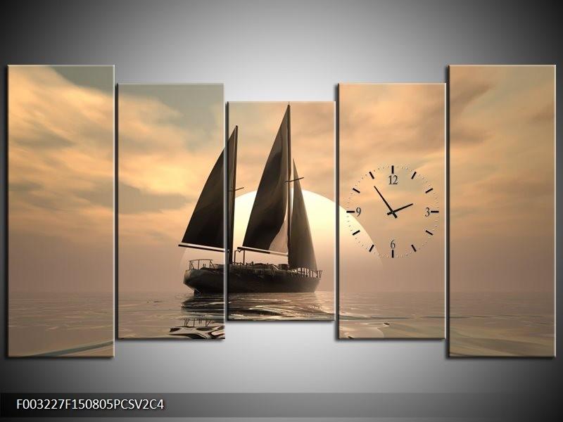 Klok schilderij Zeilboot | Wit, Grijs, Bruin | 150x80cm 5Luik