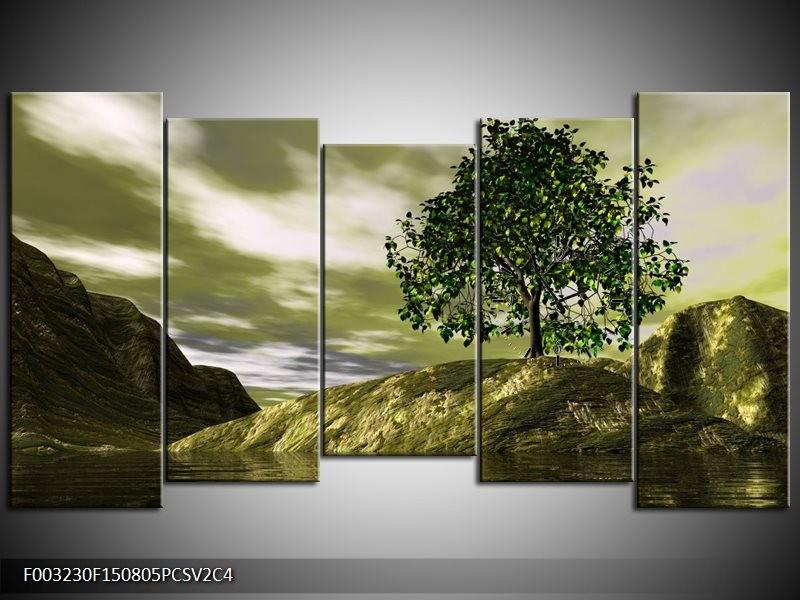 Klok schilderij Natuur | Groen, Grijs, Wit | 150x80cm 5Luik