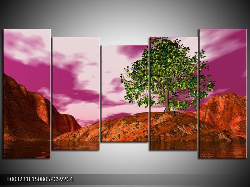 Klok schilderij Natuur | Groen, Paars, Roze | 150x80cm 5Luik