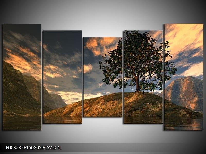 Klok schilderij Natuur | Grijs, Blauw, Wit | 150x80cm 5Luik