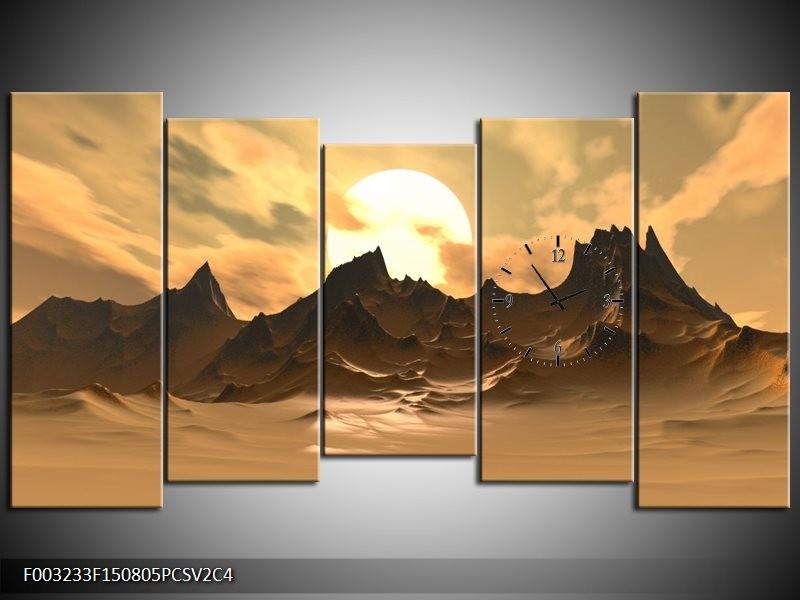 Klok schilderij Natuur | Wit, Bruin, Grijs | 150x80cm 5Luik