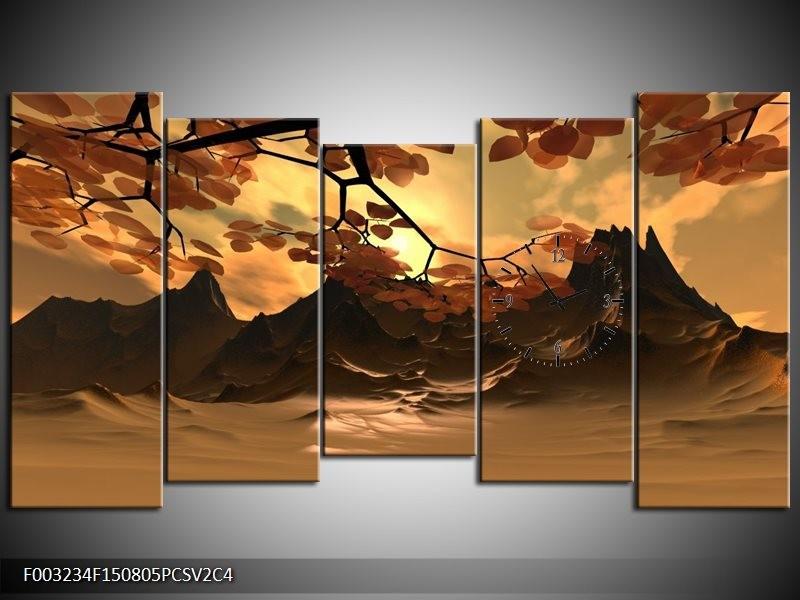 Klok schilderij Natuur | Bruin, Wit, Geel | 150x80cm 5Luik
