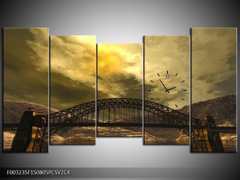 Klok schilderij Brug | Geel, Bruin, Grijs | 150x80cm 5Luik