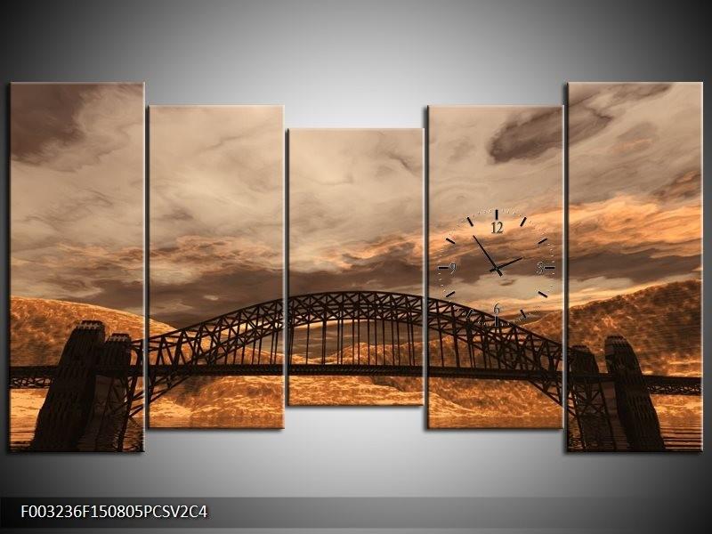 Klok schilderij Natuur | Bruin, Zwart, Grijs | 150x80cm 5Luik