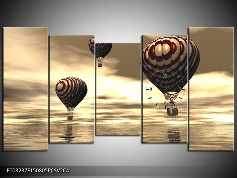 Klok schilderij Luchtballon | Bruin, Grijs, Wit | 150x80cm 5Luik