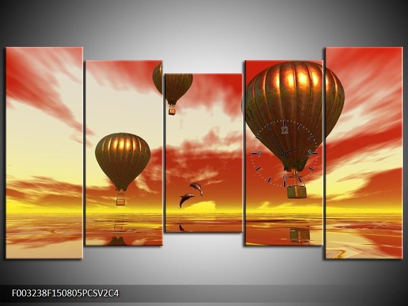 Klok schilderij Luchtballon | Geel, Goud, Rood | 150x80cm 5Luik