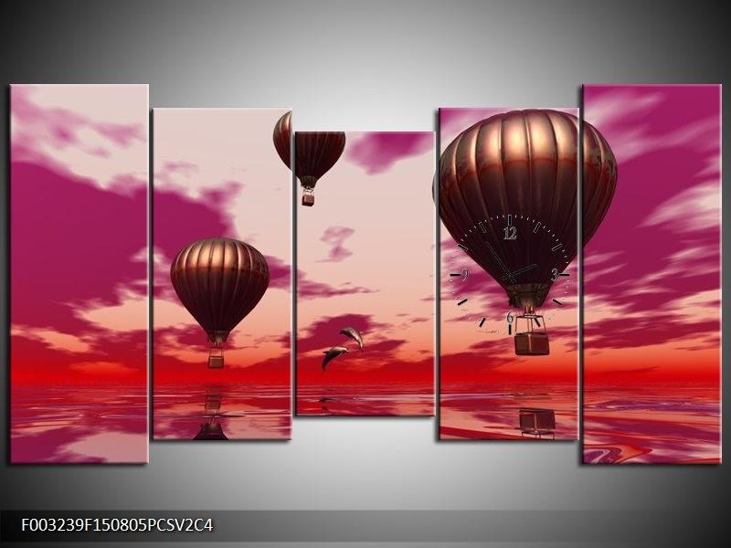 Klok schilderij Luchtballon | Paars, Rood, Grijs | 150x80cm 5Luik