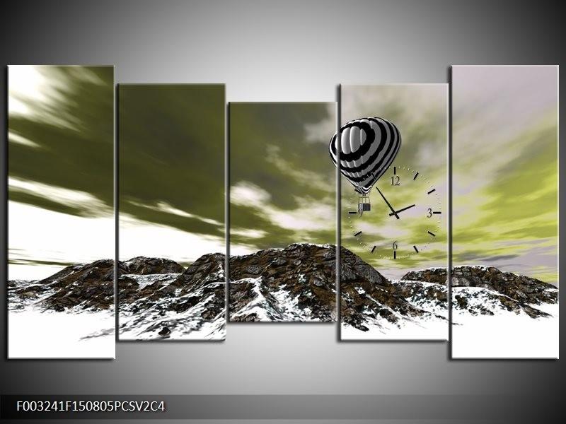 Klok schilderij Luchtballon | Groen, Wit, Grijs | 150x80cm 5Luik
