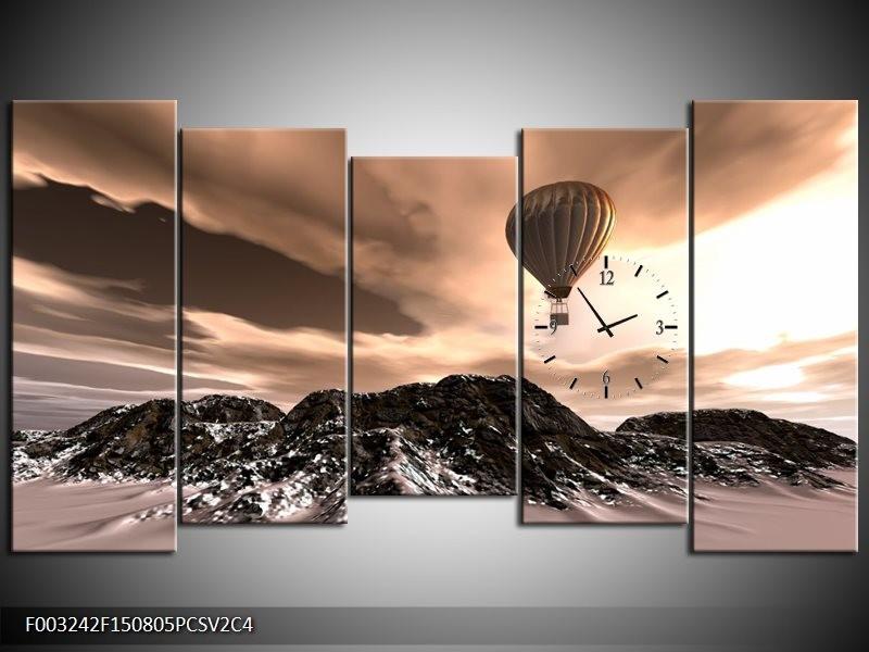Klok schilderij Luchtballon | Bruin, Zwart, Wit | 150x80cm 5Luik
