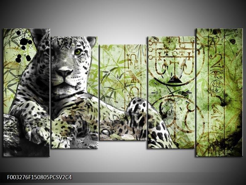 Klok schilderij Dieren | Groen, Zwart, Wit | 150x80cm 5Luik