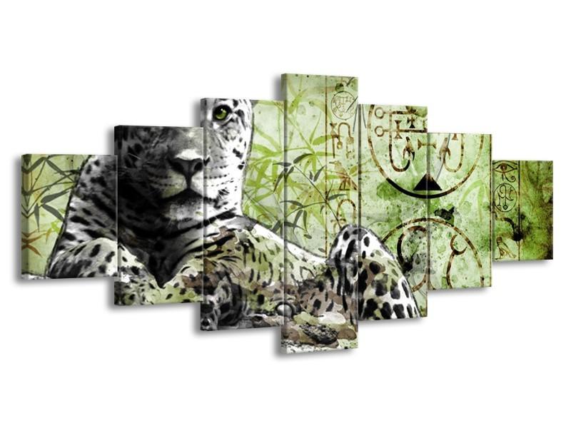 Glas schilderij Dieren | Groen, Zwart, Wit | 210x100cm 7Luik