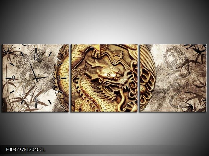 Klok schilderij Abstract   Bruin, Grijs   120x40cm 3Luik