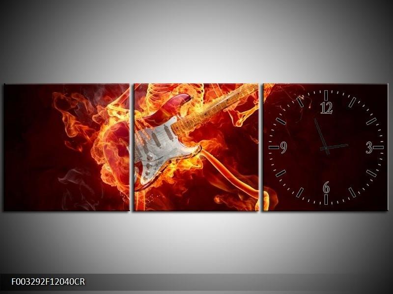Klok schilderij Gitaar   Rood, Zwart, Geel   120x40cm 3Luik