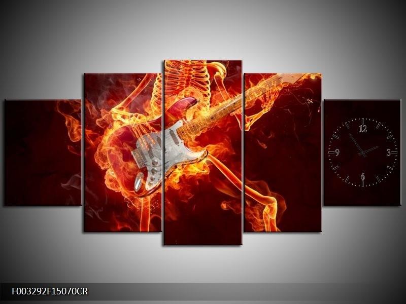 Klok schilderij Gitaar   Rood, Zwart, Geel   150x70cm 5Luik