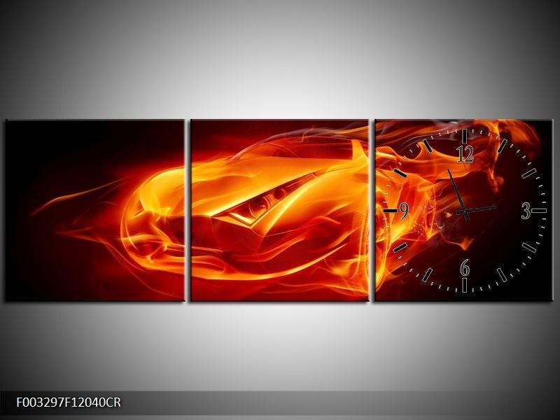 Klok schilderij Auto   Rood, Zwart, Geel   120x40cm 3Luik
