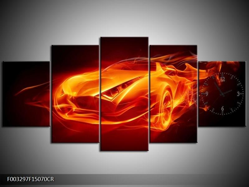 Klok schilderij Auto   Rood, Zwart, Geel   150x70cm 5Luik
