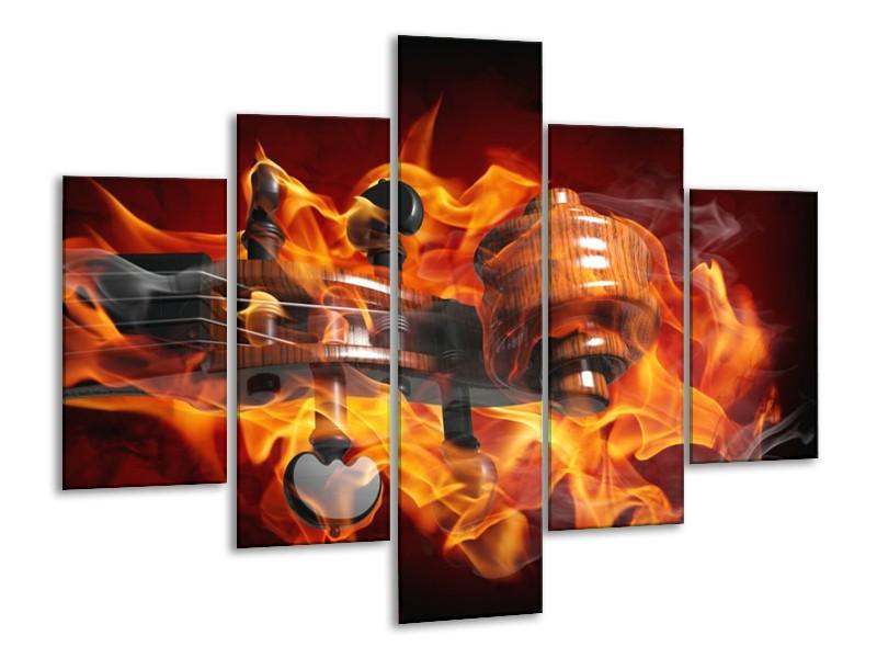 Canvas schilderij Abstract | Rood, Zwart, Geel | 100x70cm 5Luik