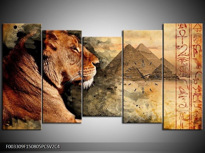 Klok schilderij Leeuw | Bruin, Grijs, Zwart | 150x80cm 5Luik