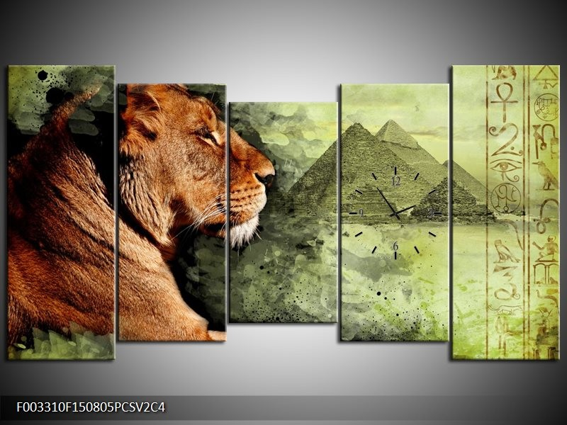 Klok schilderij Leeuw | Bruin, Grijs, Groen | 150x80cm 5Luik