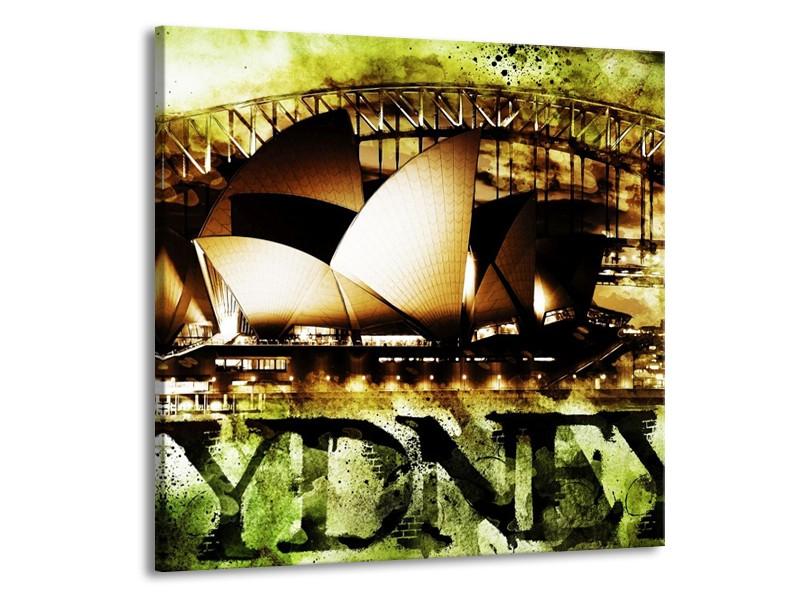 Glas schilderij Sydney | Groen, Bruin, Zwart | 70x70cm 1Luik