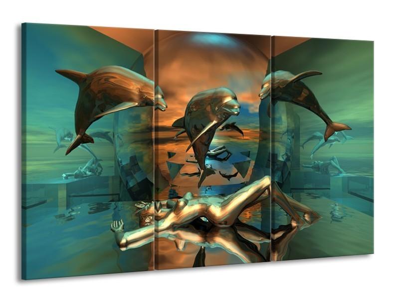 Canvas schilderij Dolfijn   Blauw, Goud, Bruin   165x100cm 3Luik