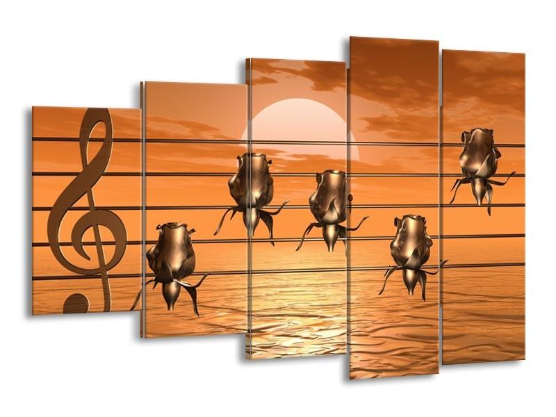Canvas schilderij Muziek | Goud, Geel, Bruin | 150x100cm 5Luik