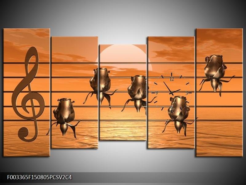 Klok schilderij Muziek | Goud, Geel, Bruin | 150x80cm 5Luik