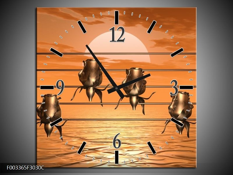 Klok schilderij Muziek | Goud, Geel, Bruin | 30x30cm 1Luik