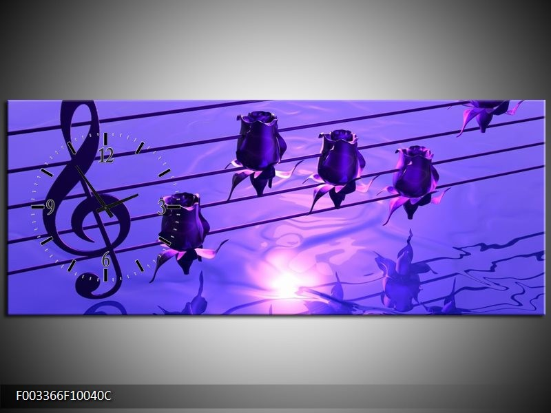 Klok schilderij Muziek | Paars, Wit | 100x40cm 1Luik