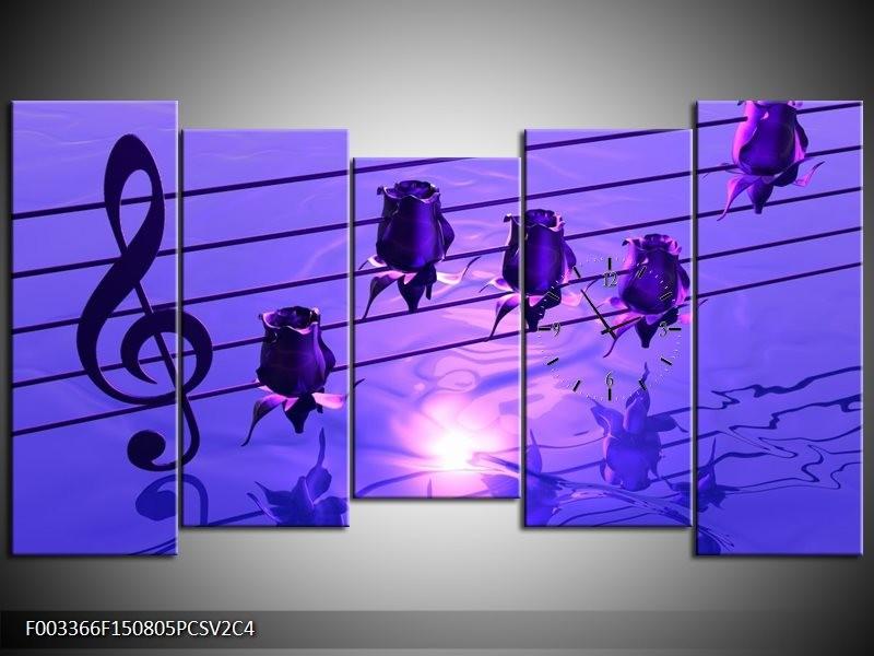 Klok schilderij Muziek | Paars, Wit | 150x80cm 5Luik
