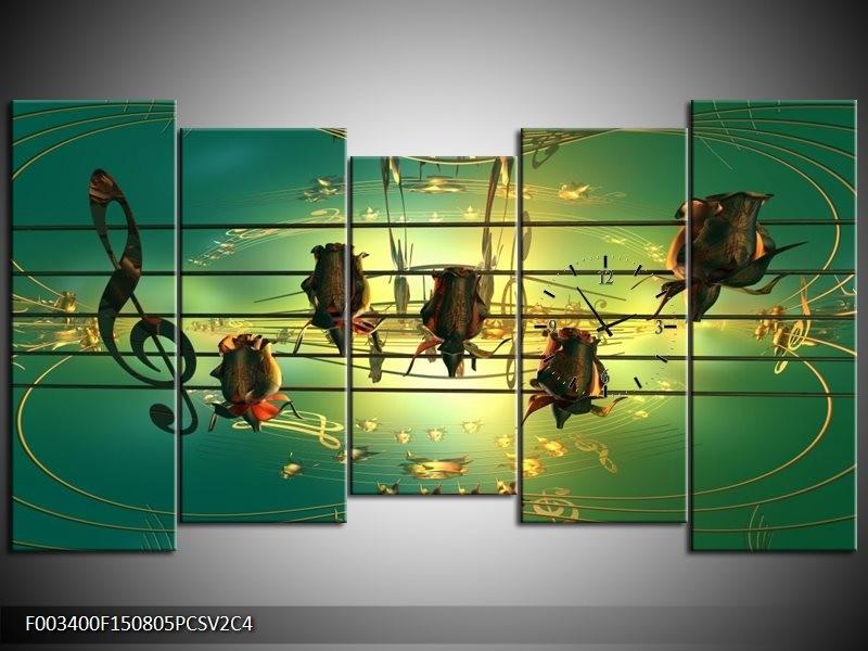 Klok schilderij Muziek | Blauw, Zwart, Geel | 150x80cm 5Luik