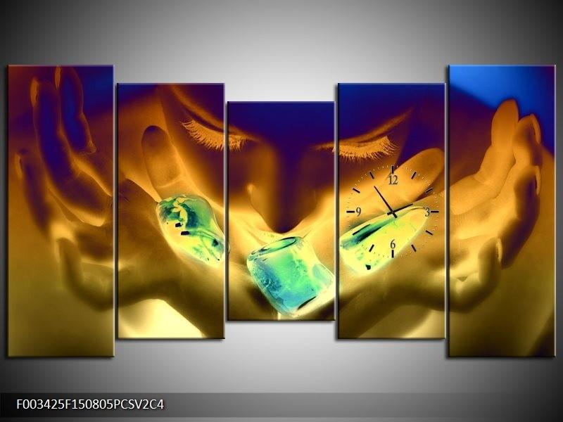 Klok schilderij Gezicht | Groen, Geel, Blauw | 150x80cm 5Luik