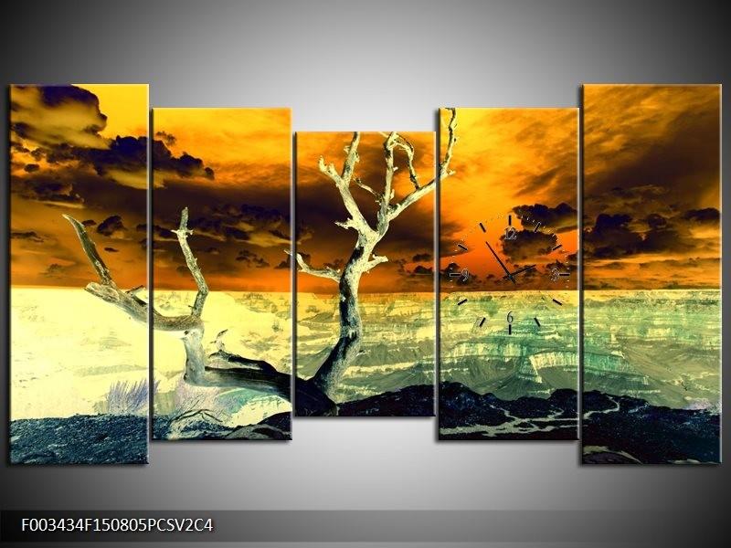 Klok schilderij Natuur | Geel, Bruin, Wit | 150x80cm 5Luik
