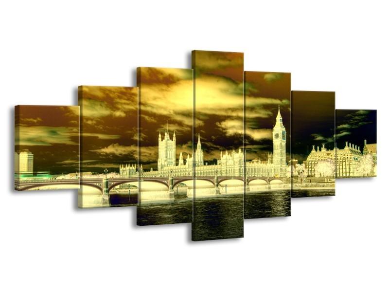 Glas schilderij Londen | Geel, Groen, Crème | 210x100cm 7Luik