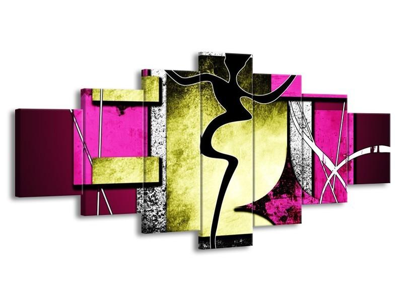 Glas schilderij Abstract | Paars, Groen, Wit | 210x100cm 7Luik