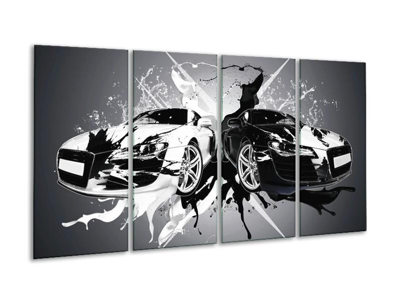 Canvas schilderij Audi | Zwart, Wit, Grijs | 160x80cm 4Luik