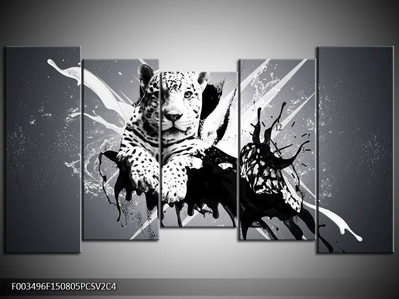 Klok schilderij Dieren | Zwart, Wit, Grijs | 150x80cm 5Luik