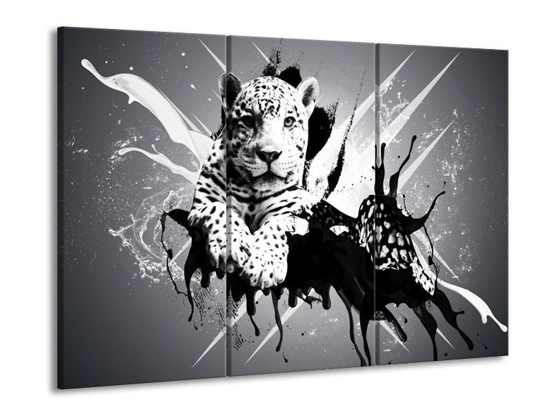 Canvas schilderij Dieren | Zwart, Wit, Grijs | 90x60cm 3Luik