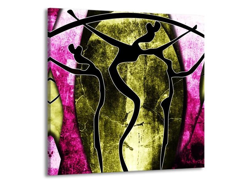 Glas schilderij Abstract | Roze, Zwart, Groen | 50x50cm 1Luik