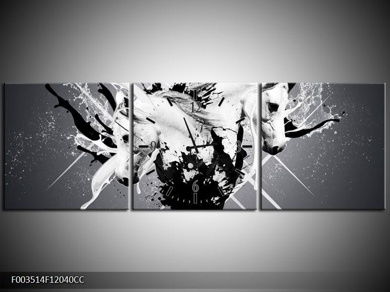 Klok schilderij Abstract   Wit, Zwart, Grijs   120x40cm 3Luik